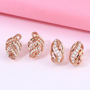 New Fashion Creative Earrings Diamond Leaf Leaf Earrings NHAS205234's discount tags