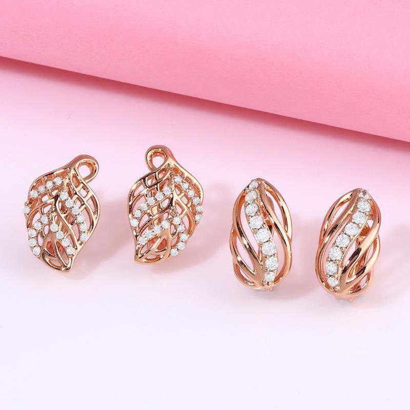 New Fashion Creative Earrings Diamond Leaf Leaf Earrings NHAS205234