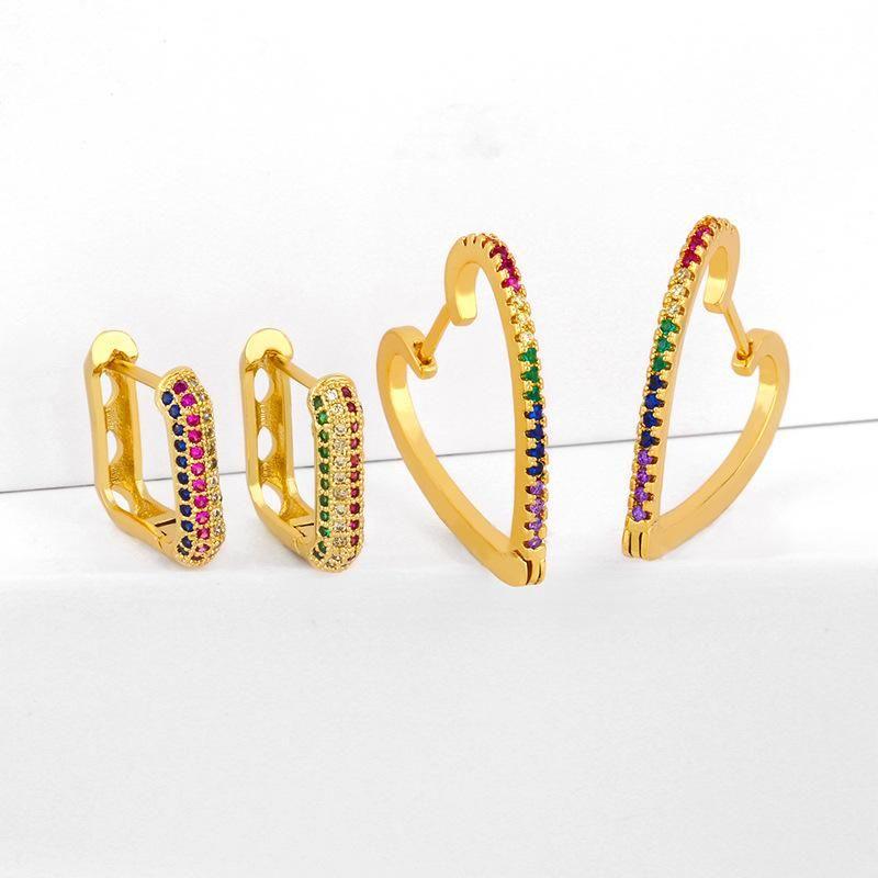 Geometric Love Earrings Peach Heart Earrings with Colored Cubic Zirconia Stud Earrings NHAS205235