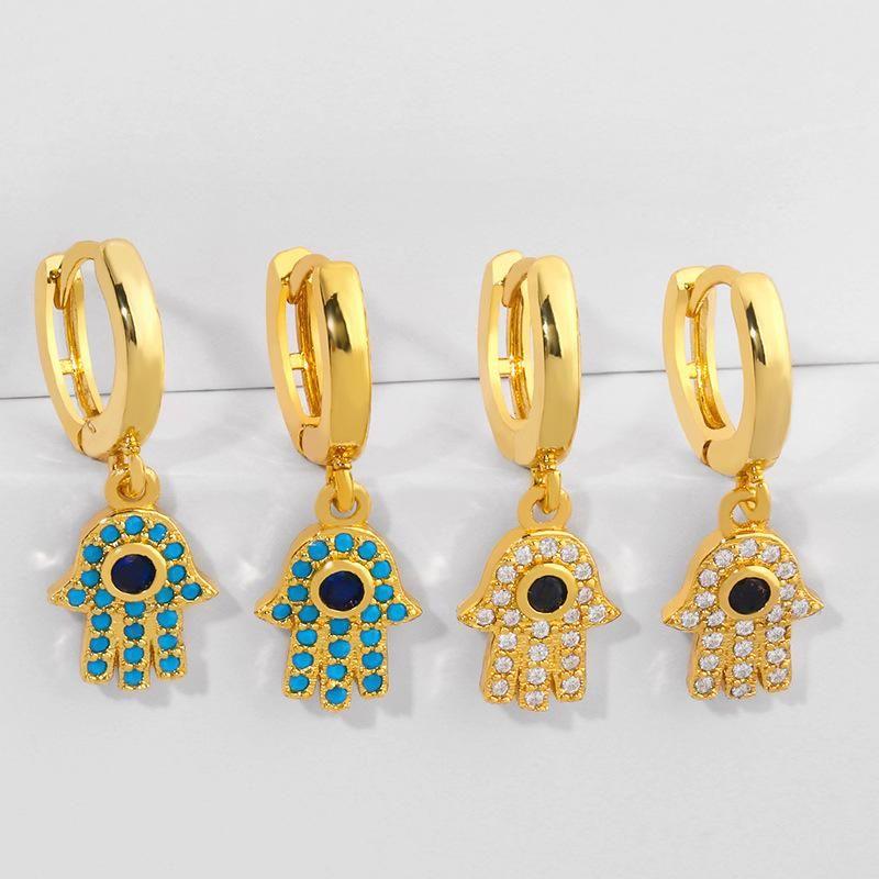 Palm Earrings Earrings Female Copper Micro Inlaid Color Zirconia Stud Earrings NHAS205236