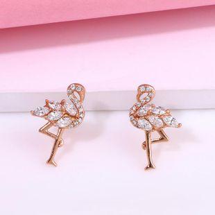 Flamingo earrings exaggerated minimalist micro-zircon flamingo earrings women NHAS205237's discount tags