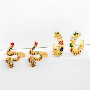 Exaggerated Earrings Rainbow Rainbow Hip Hop Snake Ear Clip NHAS205239's discount tags