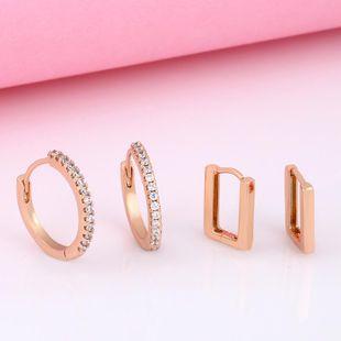 Geometric Rhinestone Earrings Zircon Stud Earrings Wholesale NHAS205242's discount tags