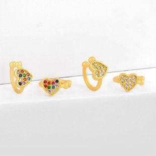 Earrings retro heart-shaped love earrings ear clips without piercings hypoallergenic diamond ear bone clip female NHAS205243's discount tags