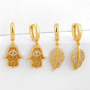Earrings leaf earrings for women shiny leaf rhinestone diamond stud earrings NHAS205244's discount tags