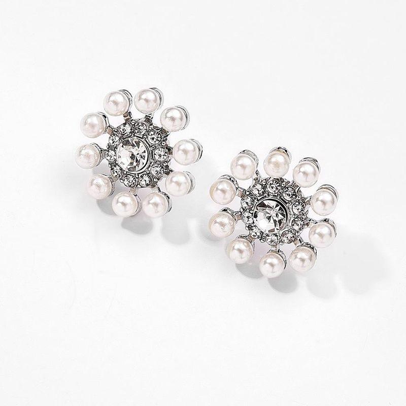 Korean new pearl fashion wild 925 silver needle allergy flower earrings NHMD205251
