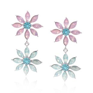 Korean New Fashion Wild Double Diamond Earrings for Women Wholesale NHMD205254's discount tags
