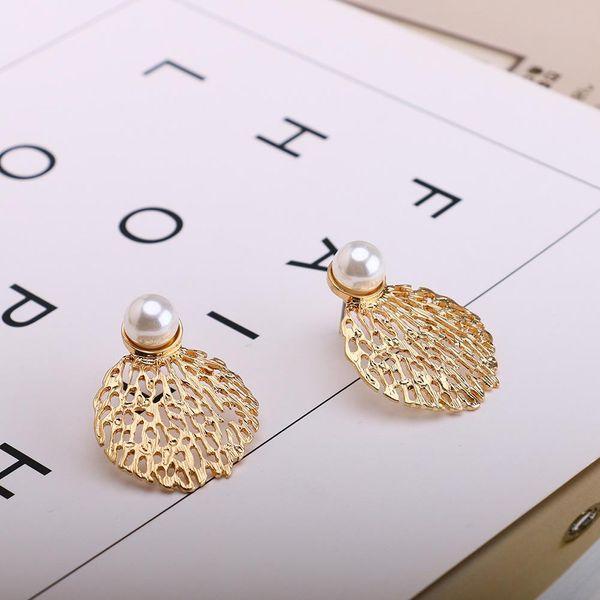 New fashion pearl earrings fashion honeycomb hollow earrings ear jewelry NHQS205256