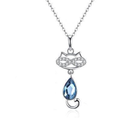 S925 en argent sterling mignon chat cristal pendentif collier en gros NHKL205330's discount tags