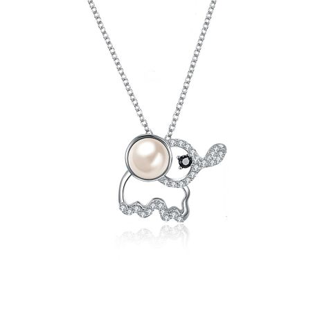 S925 en argent sterling mignon bébé éléphant cristal pendentif collier NHKL205331's discount tags