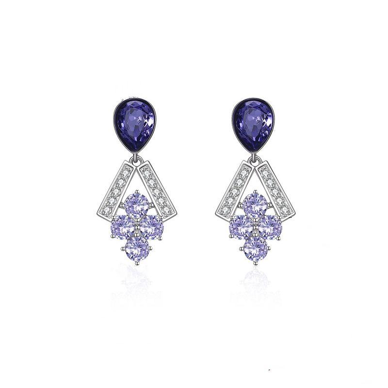 S925 sterling silver grape beaded popular earrings wholesale NHKL205332