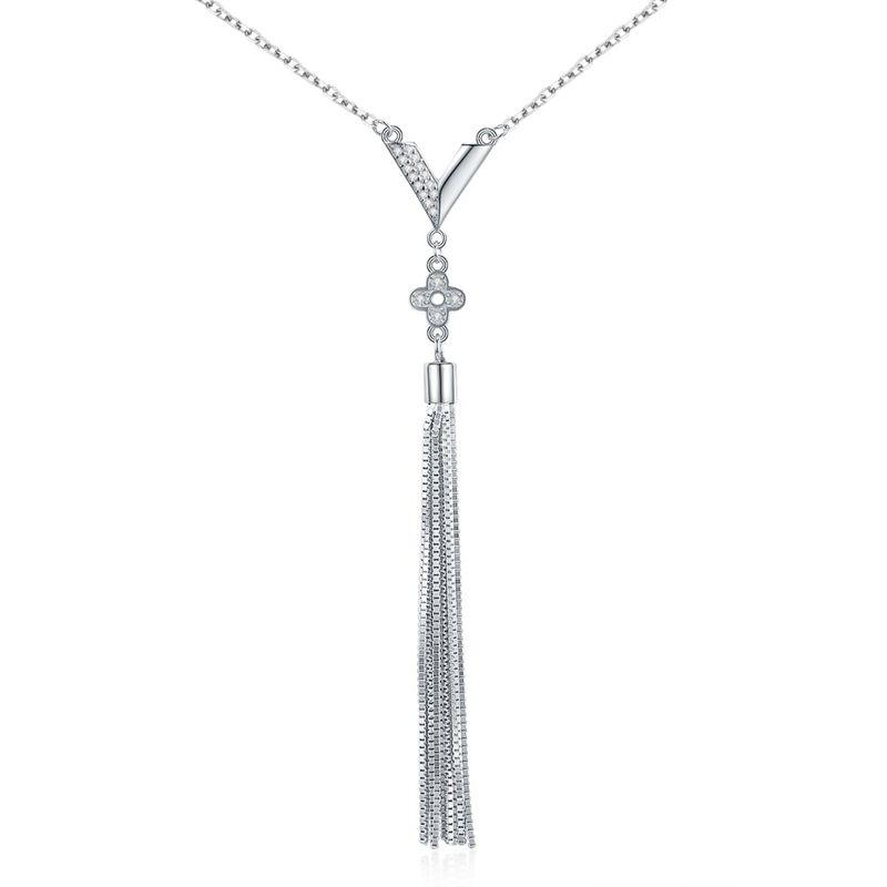 New Fashion Long Item Chain V-Belt 4 Leaf Flower Tassel Pendant NHKL205336