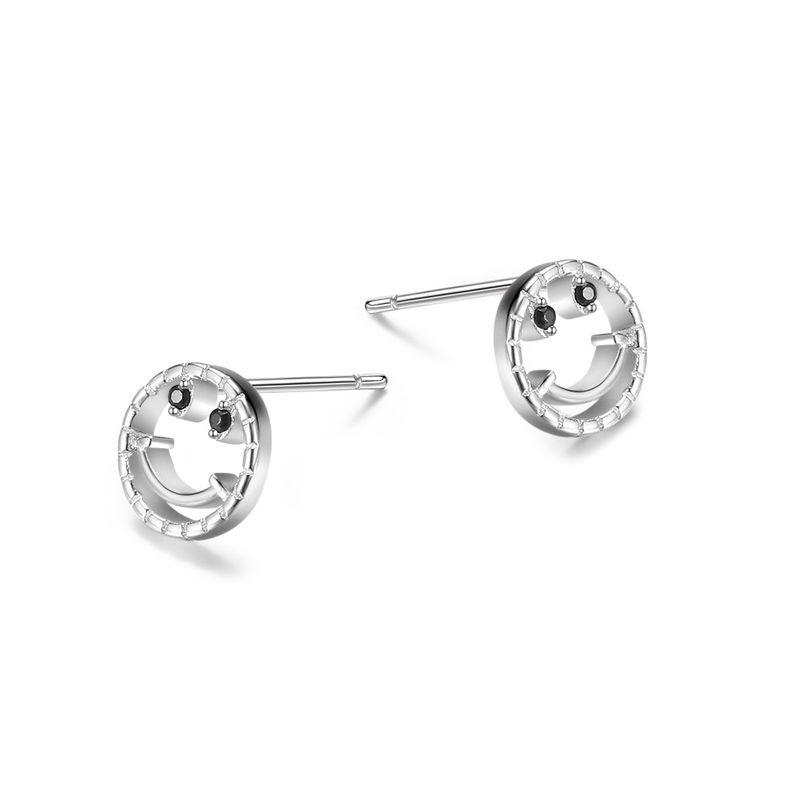 S925 Sterling Silver Smiley Earrings NHKL205341
