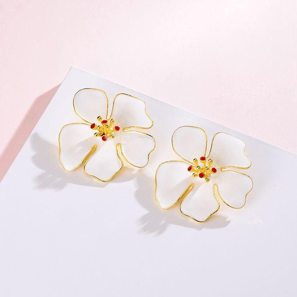 Yi wu jewelry new punk style flower earrings fashion drip oil earrings women wholesale NHOT205721