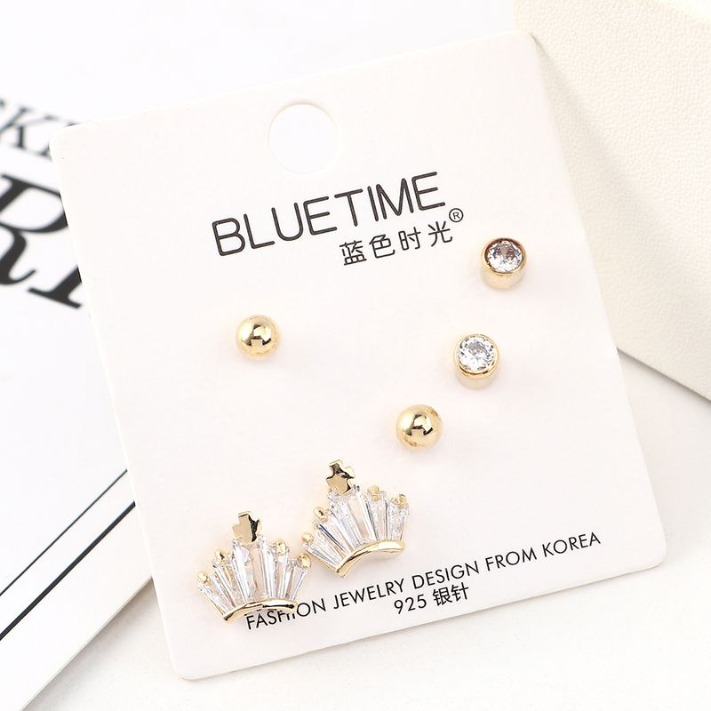 New Fashion Gold Plated Small Crown S925 Silver Earrings Set Wholesale NHPS205266