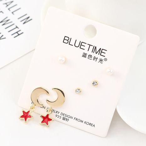 Coréen Simple Plaqué Or Mode Étoile Lune Perle S925 Argent Boucle D'oreille Ensemble En Gros NHPS205267's discount tags