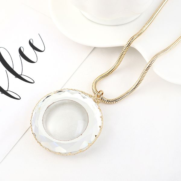 New fashion gold plated round transparent sweater chain wholesale NHPS205273