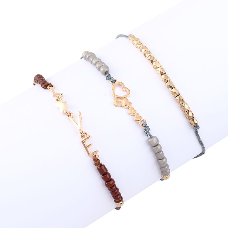 Simple Fashion Creative Love Letter Bracelet Set Wholesale NHPS205282