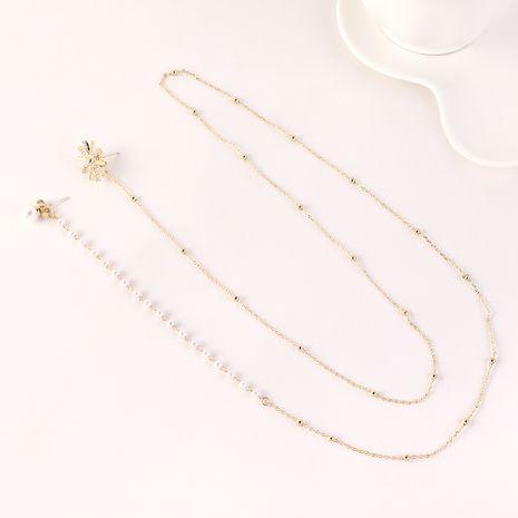 Mode coréenne exagérée plaqué or longue perle flocon de neige S925 boucles d'oreilles broches en argent en gros NHPS205293's discount tags