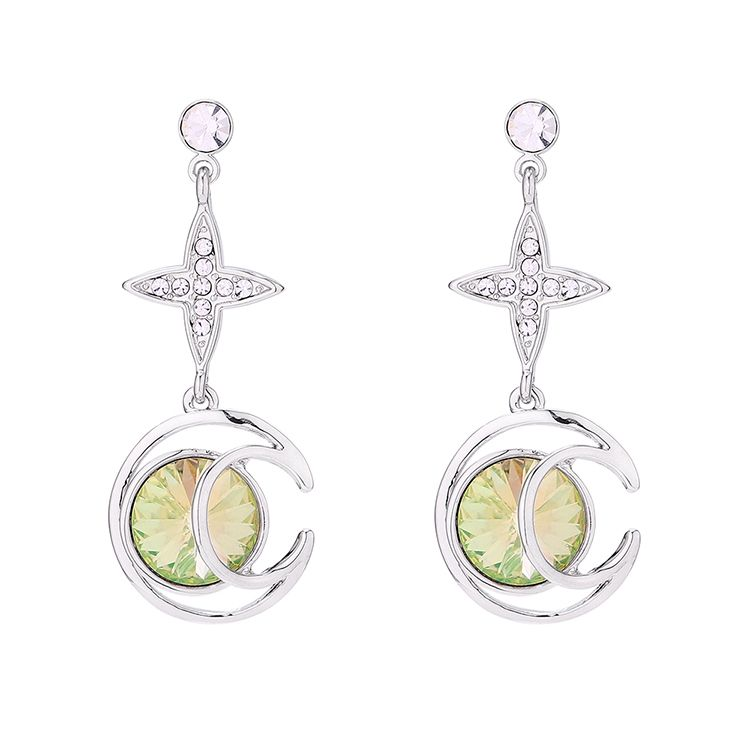 New simple crystal moon earrings wholesale NHSE205313