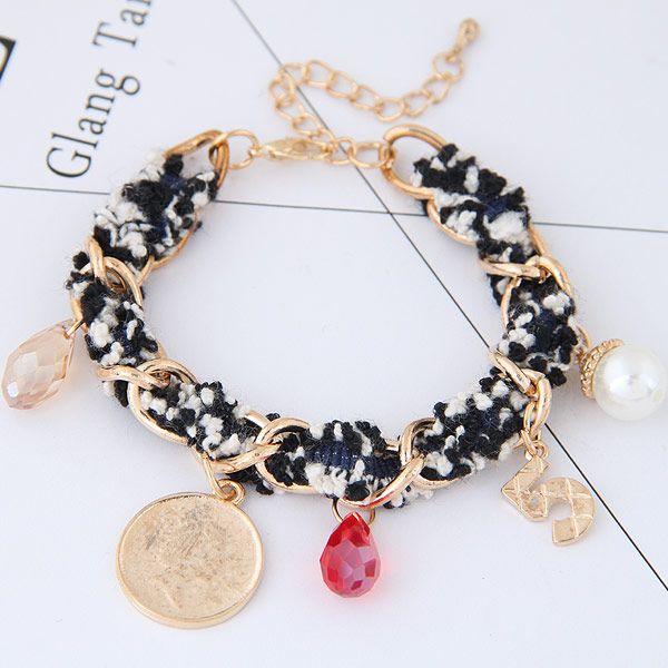 Korean fashion wild lady multi-element pendant cloth woven bracelet wholesale NHSC205712