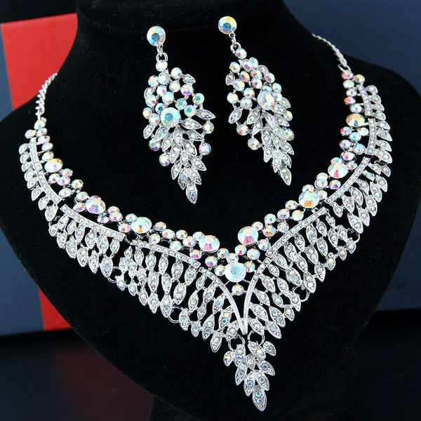 Fashion metal bright luxury angel wings bridal accessories bridal necklace earrings set NHSC205709