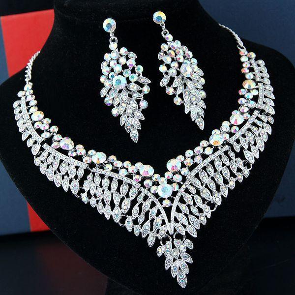 Moda metal brillante lujo angel alas accesorios nupciales collar nupcial aretes conjunto NHSC205709