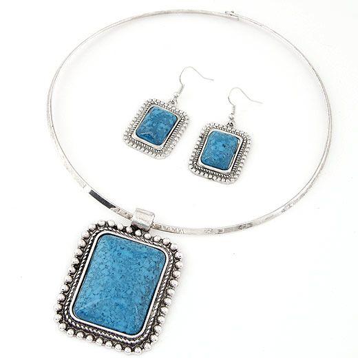 Fashion Bohemia Gem Collar Necklace Set Wholesale NHSC205706