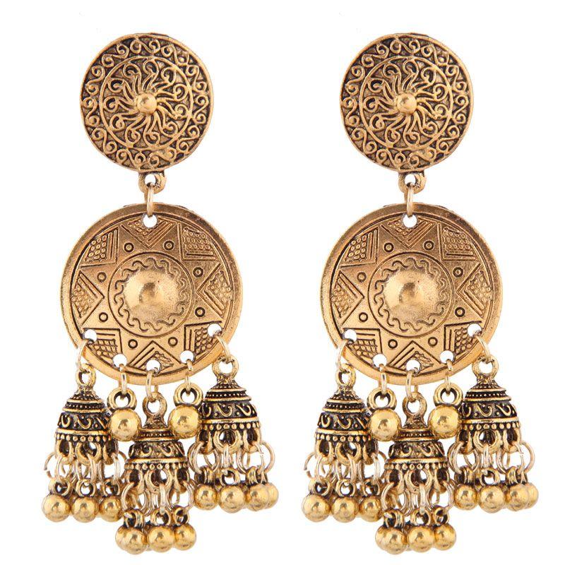 Retro boho celebrity simple size round card bell ear earrings wholesale NHSC205704