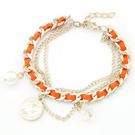 Korean Fashion Coin Crystal Pearl Pendant Weaving Bracelet Wholesale NHSC205702