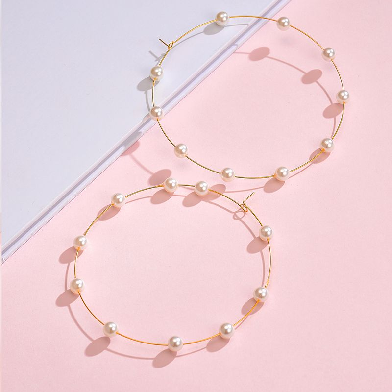 Yi wu jewelry new pearl big circle earrings fashion exaggerated pearl earrings women wholesale NHOT205698