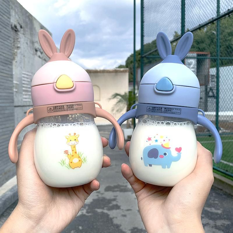 Korean Fashion Rabbit Ear Straw Children's Cup Tritan Plastic Shatter-resistant Water Cup Portable Children's Cup NHtn205369