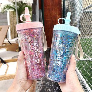 Taza de agua de plástico impresa de moda Tapa a prueba de fugas de silicona Taza de paja Taza de mango de lentejuelas NHtn205377's discount tags