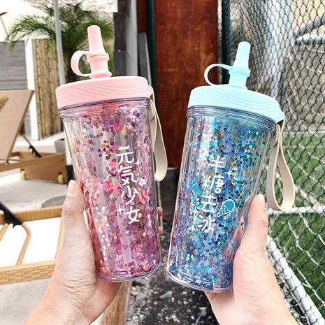 Fashion Printed Plastic Water Cup Silicone Leakproof Cap Straw Cup Sequin Handle Cup NHtn205377's discount tags