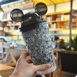 Taza de hielo refrigerada de paja doble de moda Bebida fría de verano Taza de café de jugo Hombres y mujeres Taza de plástico al por mayor NHtn205381's discount tags