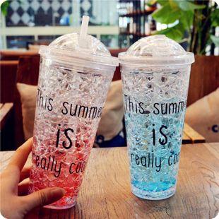 Taza de hielo creativa de verano para estudiantes taza de plástico de doble capa con tapa para beber taza de hielo refrigerada de paja NHtn205382's discount tags