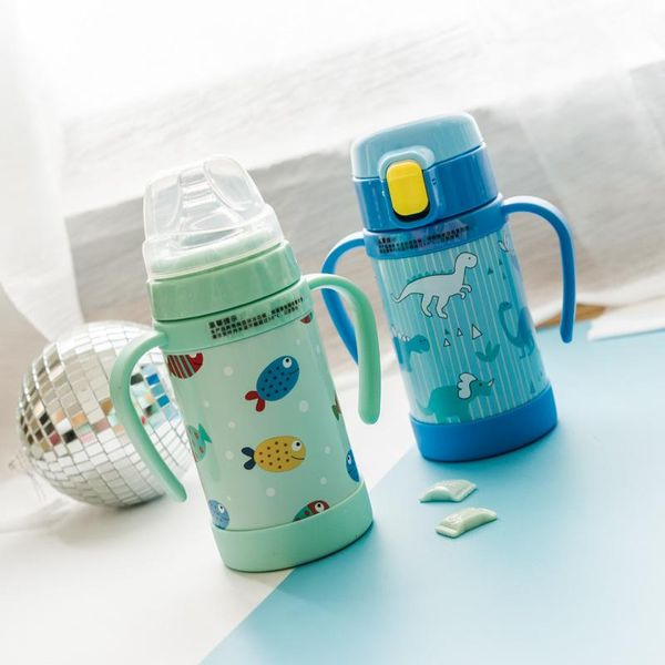 Copas infantiles coreanas para bebés, taza de aislamiento de acero inoxidable con pajita de doble uso con asa, taza de bebida escolar a prueba de caídas, jardín de infantes NHtn205385