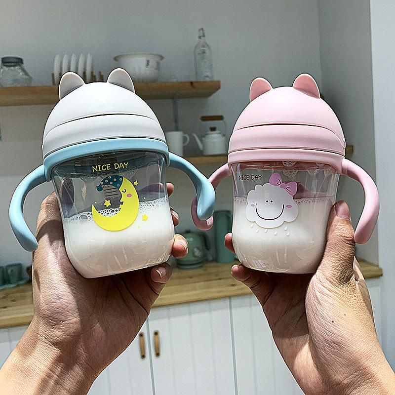 Cartoon cute cute cat handle strap dual-use children's cup portable handle baby take-out drinking water anti-water cup NHtn205392