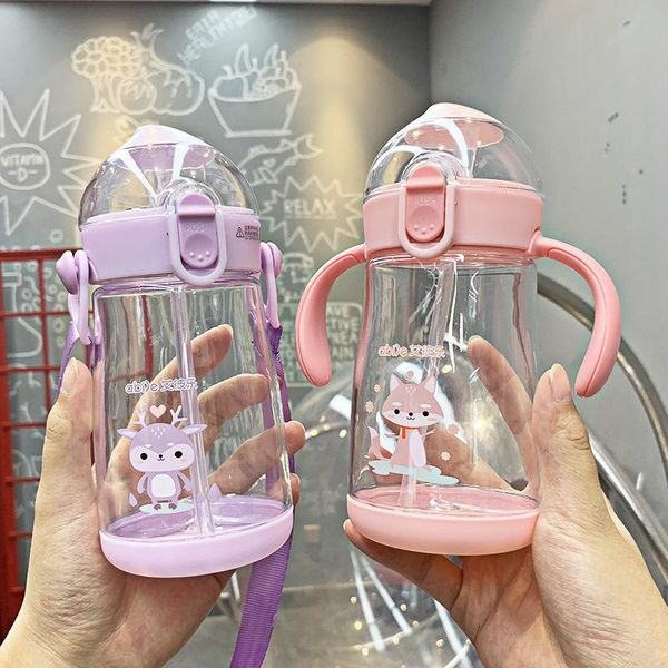 Meng pet cartoon animal chocolate series straw plastic cup two handles anti-fall cup baby health cup NHtn205395