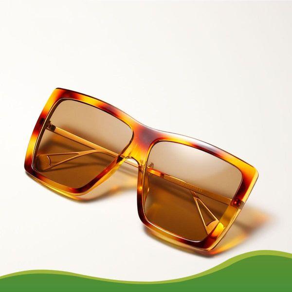 Gafas de sol cuadradas grandes estampado de leopardo Hip hop coreano gafas de sol retro al por mayor NHXU205398
