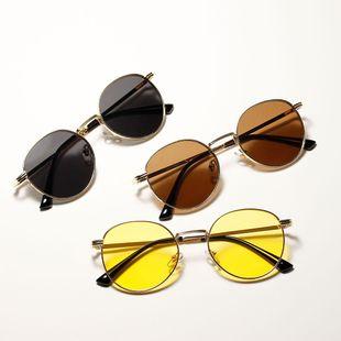 Gafas de sol redondas de metal retro Nuevas gafas de sol de color transparente al por mayor NHXU205403's discount tags