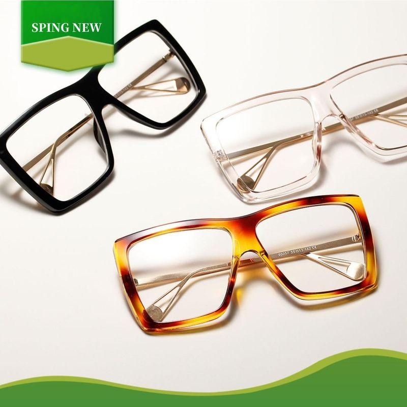 Oversized Frame Half Metal Retro Flat Lens Korean Square Glasses Wholesale NHXU205406