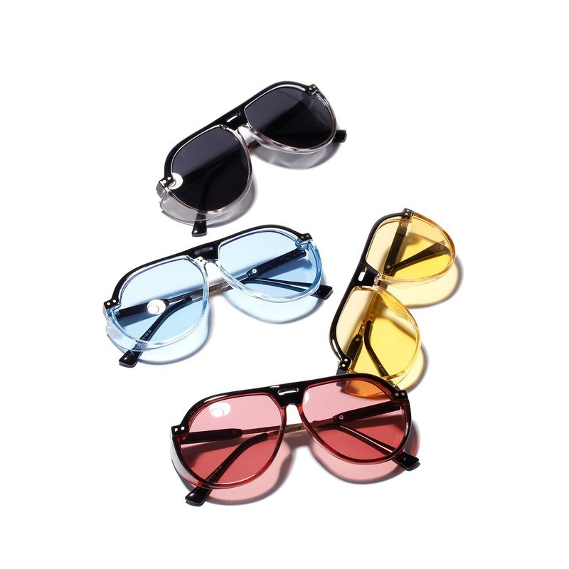 Transparent colored vintage fashion large frame sunglasses UV protection glasses NHXU205430