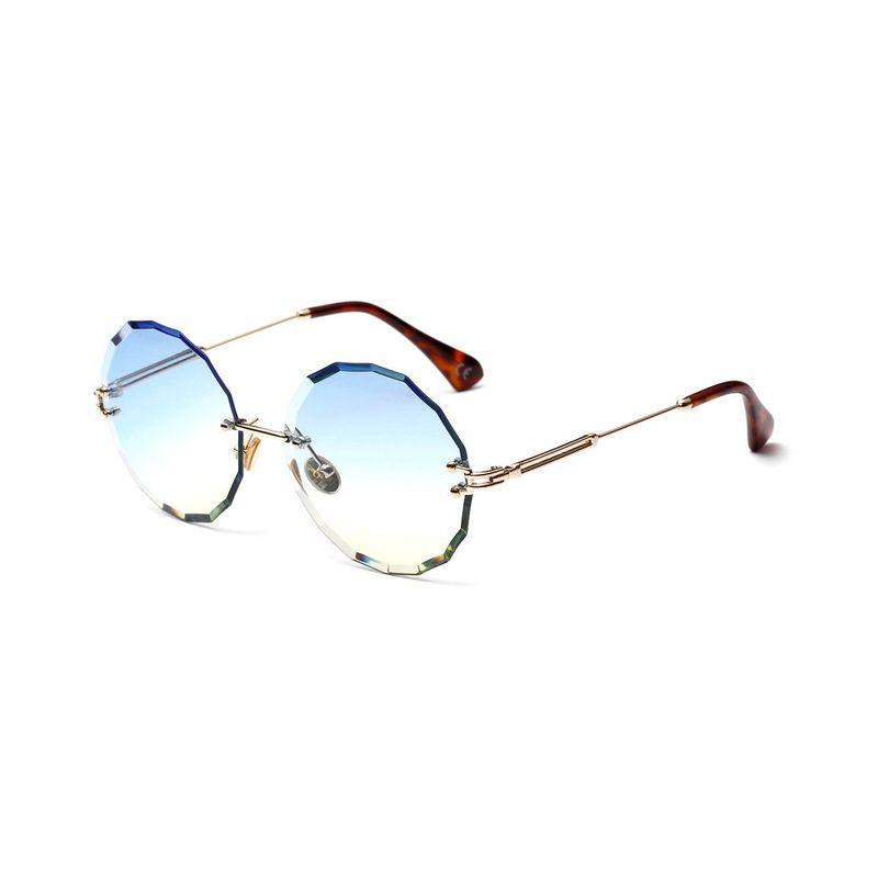 New Fashion Frameless Round Retro Glasses Transparent Color Lens Sunglasses NHXU205421