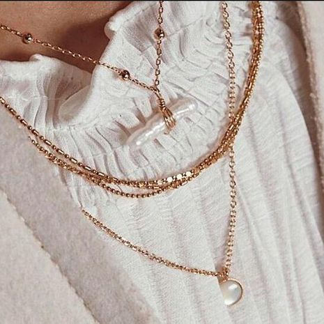 New fashion multilayer alloy necklace imitation pearl pendant wholesale NHMD205689's discount tags