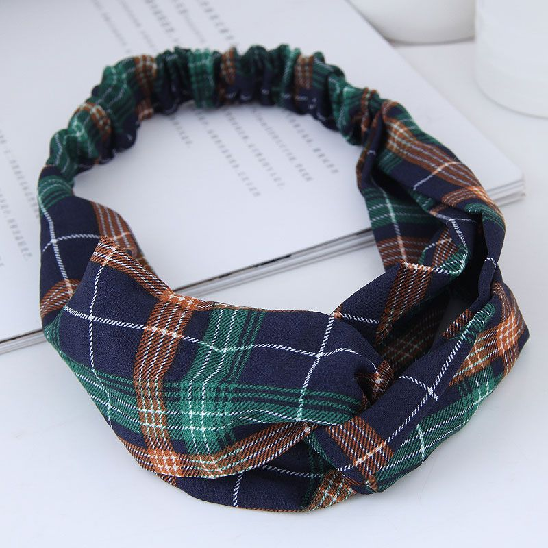 Fashion sweet wide-sided checkered pattern simple cross elastic wild wide-edge hair accessories cheap hair band wholesale NHSC205683