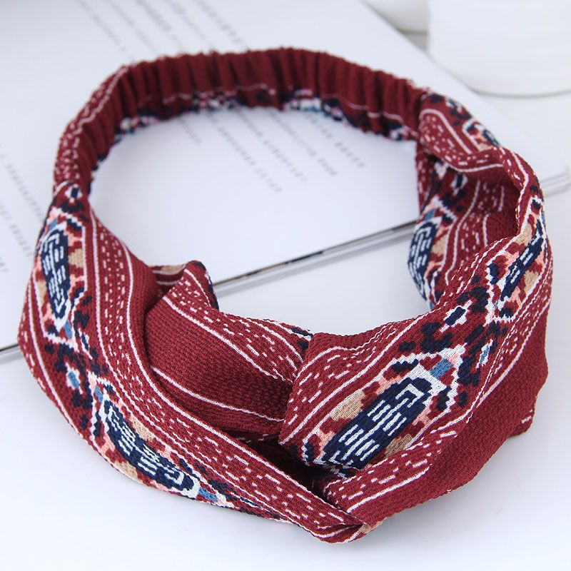 Fashion Sweet Wide Edge Famous Style Wind Cross Elastic Wild Wide Edge Hair Accessories Cheap Hairband Wholesale NHSC205682