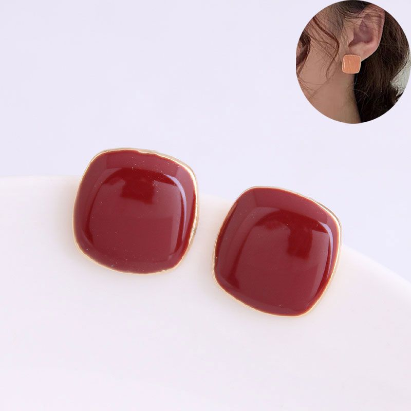 Yi wu jewelry wholesale Korean fashion sweet OL hit color square earrings NHSC205679