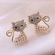 Yi wu jewelry wholesale925 silver needle Korean fashion sweet OL wild cute cat earrings NHSC205676