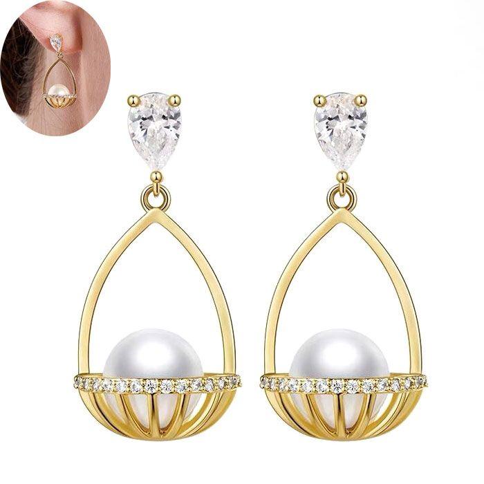 Yi wu jewelry wholesale925 silver pin delicate Korean fashion elegant hanging pearl earrings NHSC205675